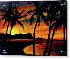 Hawaiian Waikiki Sunrise Over Diamond Head  #266 Acrylic Print by Donald k Hall