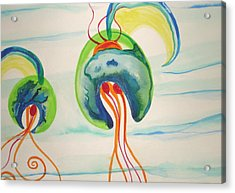 Hawaiian Warrior Jellyfish Acrylic Print by Erika Swartzkopf