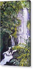 Acrylic Print featuring the painting Hawaiian Waterfall by Terri Thompson