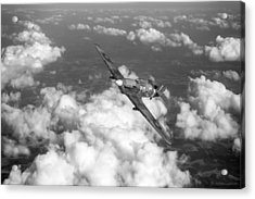 Acrylic Print featuring the photograph Hawker Hurricane IIb Of 174 Squadron Bw Version by Gary Eason