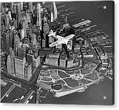 Hawk's Plane Over Battery Park Acrylic Print by Underwood Archives