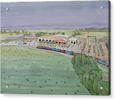 Hay And Trains Field Acrylic Print by Bethany Lee