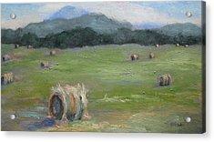 Hay Bales And Pinnacle Acrylic Print