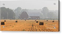 Hay Bales And Red Barn At Sunrise Acrylic Print by Jack Schultz