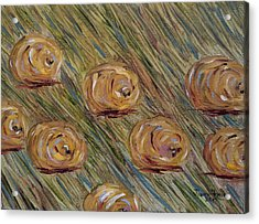 Acrylic Print featuring the painting Hay Bales by Judith Rhue
