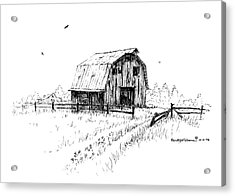 Hay Barn With Broken Gate Acrylic Print