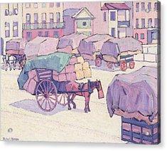 Hay Carts - Cumberland Market Acrylic Print by Robert Polhill Bevan