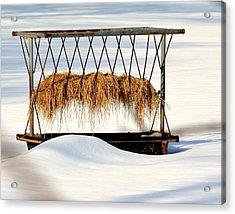 Hay Feeder In Winter Acrylic Print