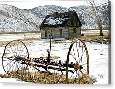 Hay Rake At Butch Cassidy Acrylic Print by Nelson and Cheryl Strong