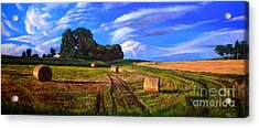 Hay Rolls On The Farm By Christopher Shellhammer Acrylic Print