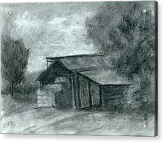 Hay Shed Sketch Acrylic Print