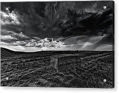 Hay Storm Black And White Acrylic Print by Mark Kiver