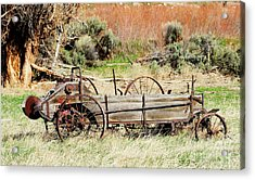 Hay Wagon At Butch Cassidy's Home Acrylic Print by Dennis Hammer