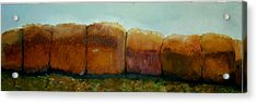Haybales Acrylic Print by Judy  Blundell
