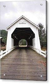 Hayden Bridge Covered Bridge Acrylic Print by John Higby