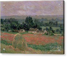 Haystack At Giverny Acrylic Print by Claude Monet