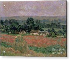 Haystack At Giverny Acrylic Print by Claude Monet
