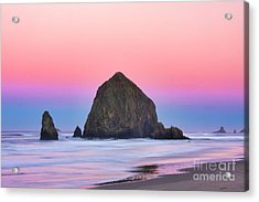 Haystack Rock At Dawn Acrylic Print