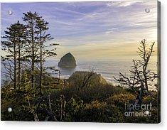 Haystack Rock At Evening's Calm Acrylic Print