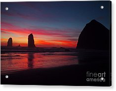 Haystack Rock At Sunset Acrylic Print