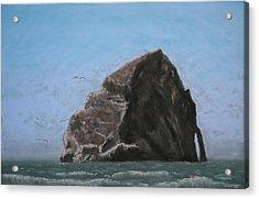 Haystack Rock  Acrylic Print by Carl Capps