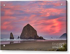 Haystack Rock- First Light Acrylic Print