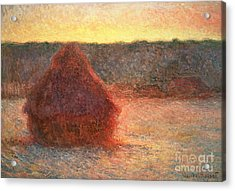 Haystacks At Sunset Acrylic Print by Claude Monet