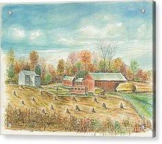 Haystacks At The Farm Acrylic Print by Samuel Showman