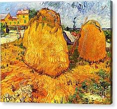 Haystacks In Provence Acrylic Print