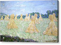 Haystacks The Young Ladies Of Giverny Sun Effect Acrylic Print by Claude Monet