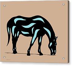 Hazel - Pop Art Horse - Black, Island Paradise Blue, Hazelnut Acrylic Print