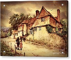 Acrylic Print featuring the digital art Hazelmere Cottage - English Lake District by Lianne Schneider
