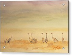 Hazy Days Cranes Acrylic Print