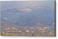 Hazy Low Cloud Morning Boulder Colorado University Scenic View  Acrylic Print by James BO  Insogna