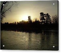 Hazy Mississippi River Sunrise Acrylic Print by Kent Lorentzen