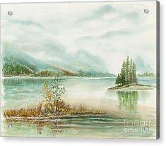Hazy On The Lake Acrylic Print by Samuel Showman