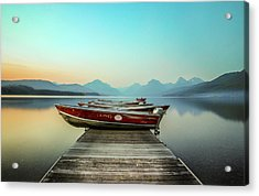 Hazy Reflection // Lake Mcdonald, Glacier National Park Acrylic Print by Nicholas Parker