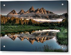 Hazy Reflections At Scwabacher Landing Acrylic Print by Ryan Smith
