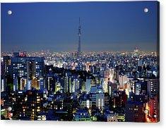 Hazy Skyline With Tokyo Sky Tree Acrylic Print by Hidehiko Sakashita
