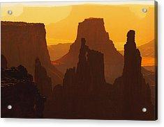 Hazy Sunrise Over Canyonlands National Park Utah Acrylic Print