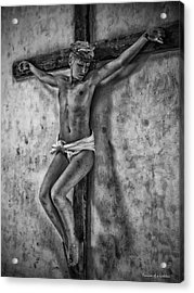 Hdr Crucifix In Black And White Acrylic Print