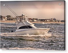 Hdr Fishing Boat Ocean Beach Beachtown Boadwalk Scenic Photography Photos Pictures Boating Sea Pics Acrylic Print by Pictures HDR