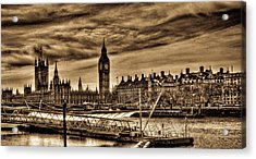 Hdr Sepia Westminster Acrylic Print by Andrea Barbieri