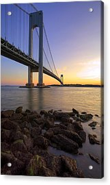 Hdr Verrazano Bridge Sunset Acrylic Print by Samuel Kessler