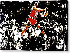 Michael Jordan Sweet Victory Acrylic Print by Brian Reaves