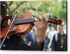 He Plays At The Market Acrylic Print by Rebecca Cozart