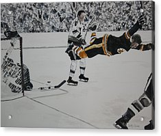 He Scores Acrylic Print by Betty-Anne McDonald