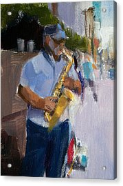 He Was Playing Real Good For Free Acrylic Print by Merle Keller
