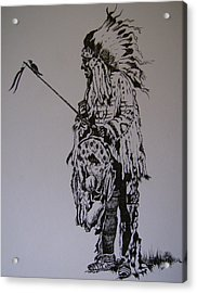 Acrylic Print featuring the drawing Head Dress by Leslie Manley