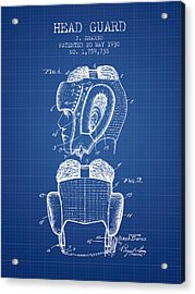 Head Guard Patent From 1930 - Blueprint Acrylic Print